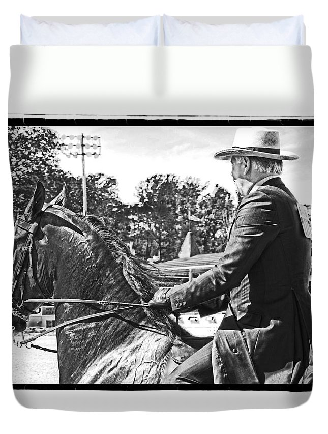 Horse Duvet Cover featuring the photograph Gentleman Rider by Alice Gipson
