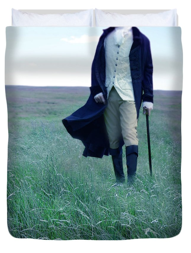 Young Duvet Cover featuring the photograph Gentleman Walking In The Country by Jill Battaglia