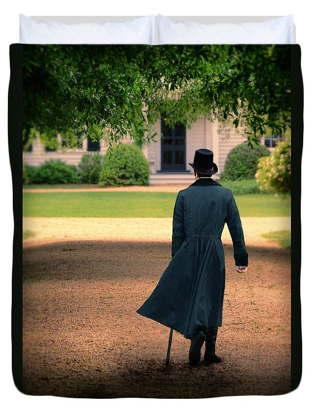 Young Duvet Cover featuring the photograph Gentleman Walking Towards A House by Jill Battaglia