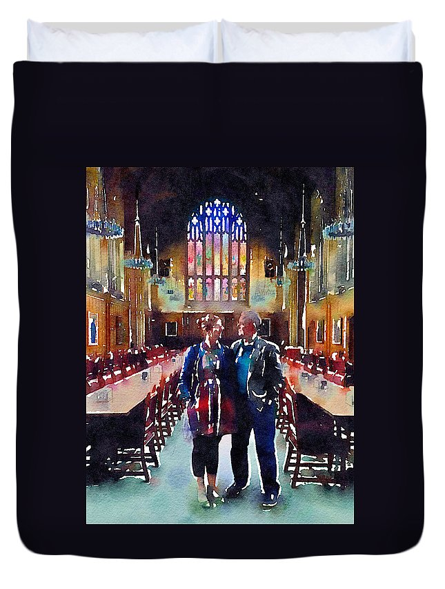 Digital Painting Duvet Cover featuring the digital art George And Chrissy At Hogwarts by Anna Porter