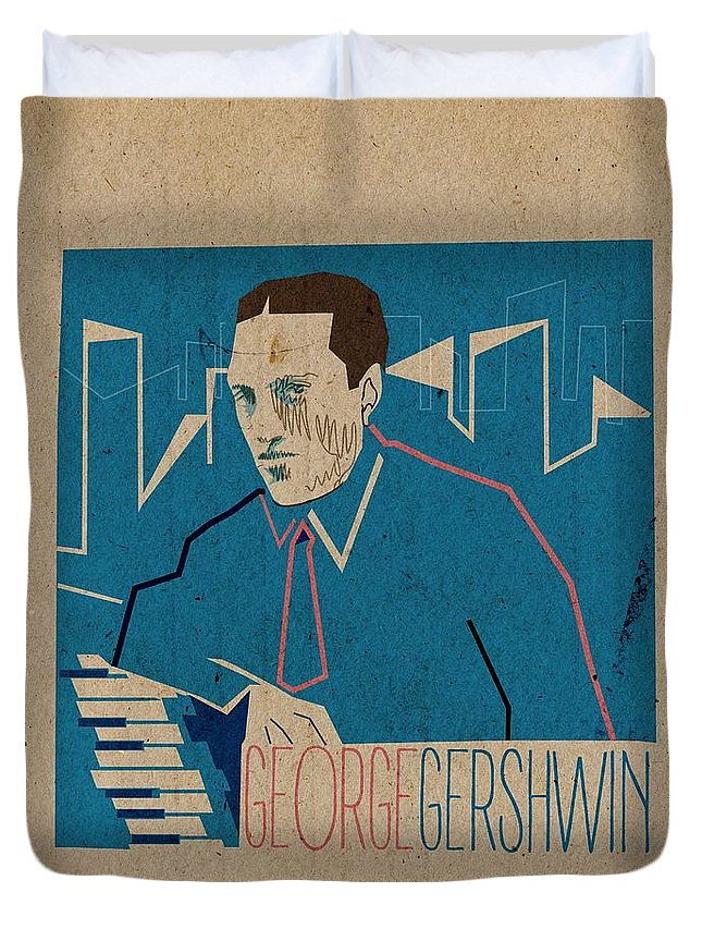 George Gershwin Duvet Cover featuring the digital art George Gershwin by Giorgi Akhuashvili
