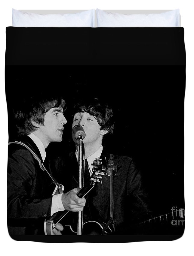 Beatles Duvet Cover featuring the photograph George Harrison & Paul Mccartney by Larry Mulvehill