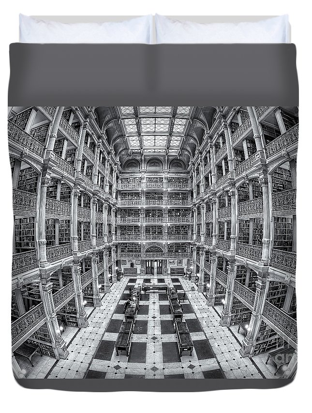 Clarence Holmes Duvet Cover featuring the photograph George Peabody Library II by Clarence Holmes