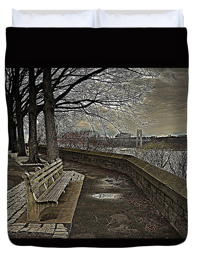 New York Duvet Cover featuring the photograph George Washington Bridge From Fort Tryon by Jeff Watts