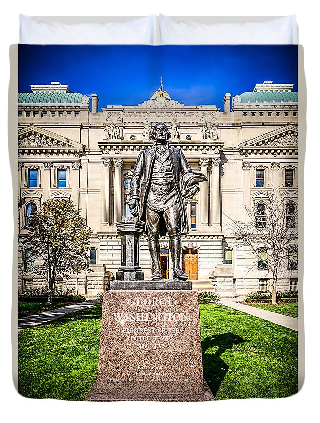 America Duvet Cover featuring the photograph George Washington Statue Indianapolis Indiana Statehouse by Paul Velgos