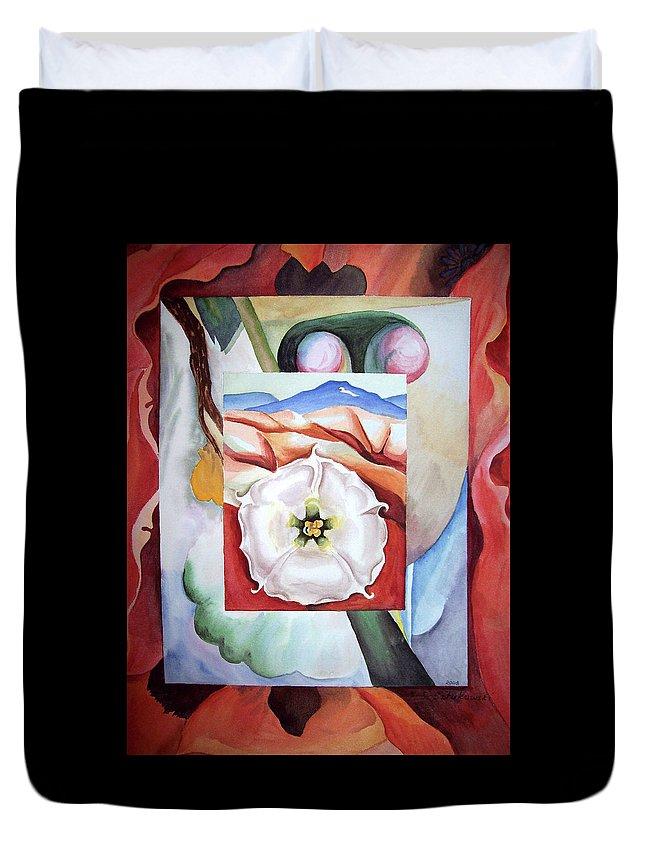 Georgia O'keefe Motive Duvet Cover featuring the painting Georgia On My Mind IIi by Irina Sztukowski