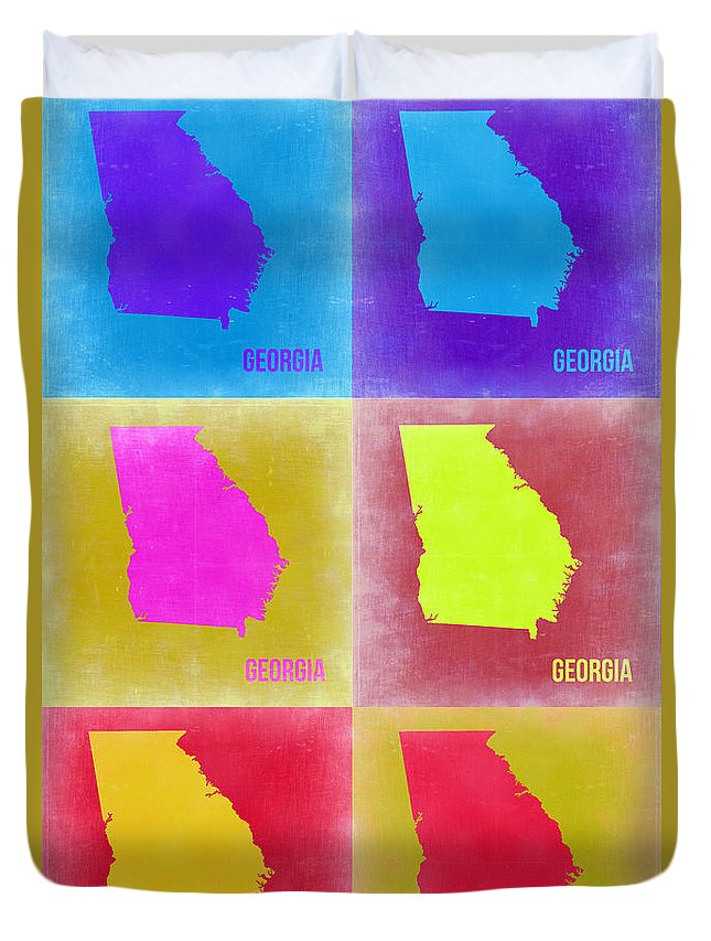 Georgia Map Duvet Cover featuring the painting Georgia Pop Art Map 2 by Naxart Studio