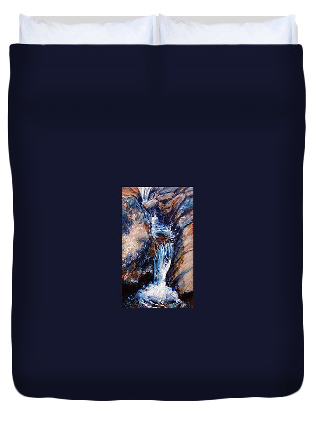 Waterfall Duvet Cover featuring the painting Georgia Waterfall by John Lautermilch