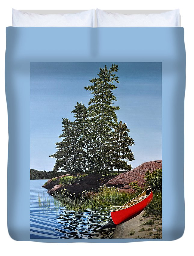 Landscapes Duvet Cover featuring the painting Georgian Bay Beached Canoe by Kenneth M Kirsch