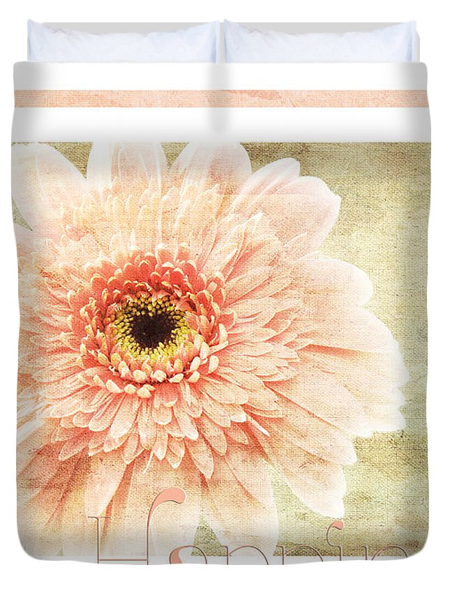 Gerber Duvet Cover featuring the photograph Gerber Daisy Happiness 1 by Andee Design