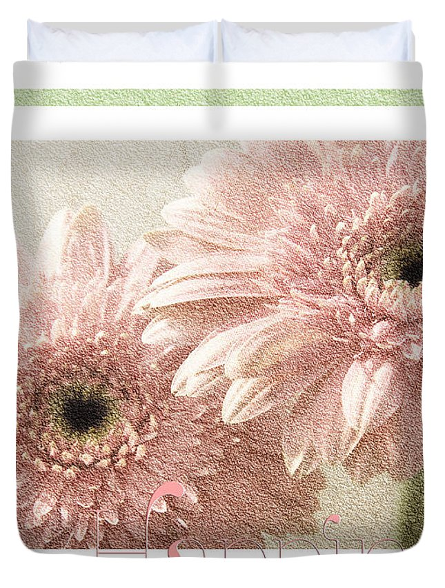 Gerber Duvet Cover featuring the photograph Gerber Daisy Happiness 3 by Andee Design