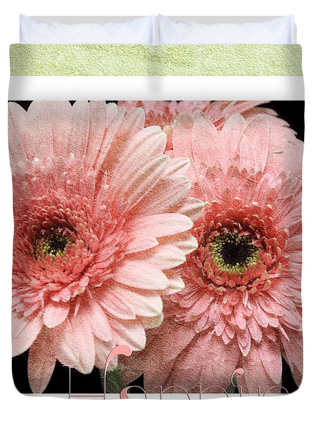 Gerber Duvet Cover featuring the photograph Gerber Daisy Happiness 4 by Andee Design
