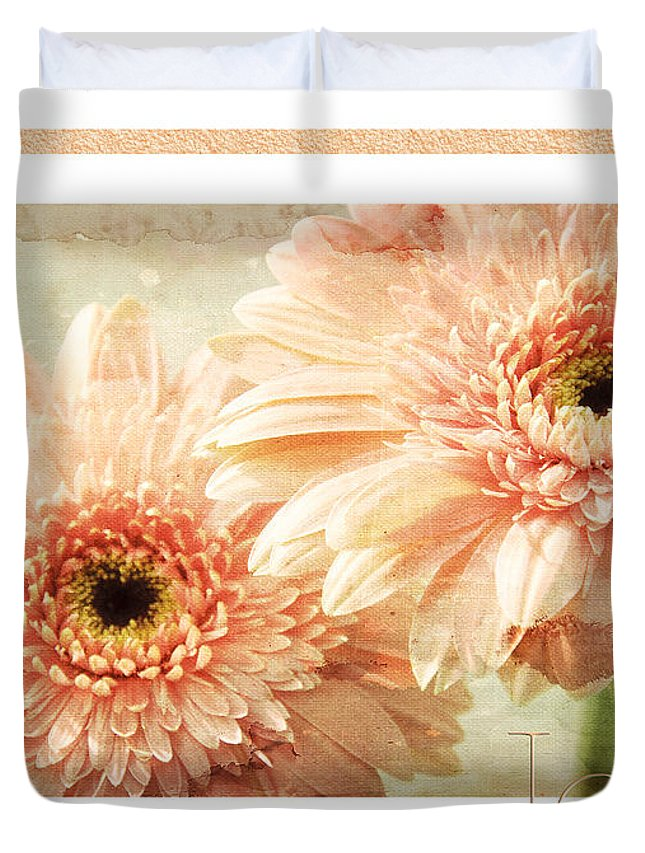 Gerber Duvet Cover featuring the photograph Gerber Daisy Joy 2 by Andee Design