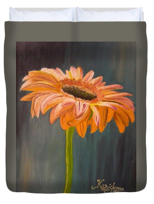 Daisy Duvet Cover featuring the painting Gerbera by KarishmaticArt -Karishma Desai