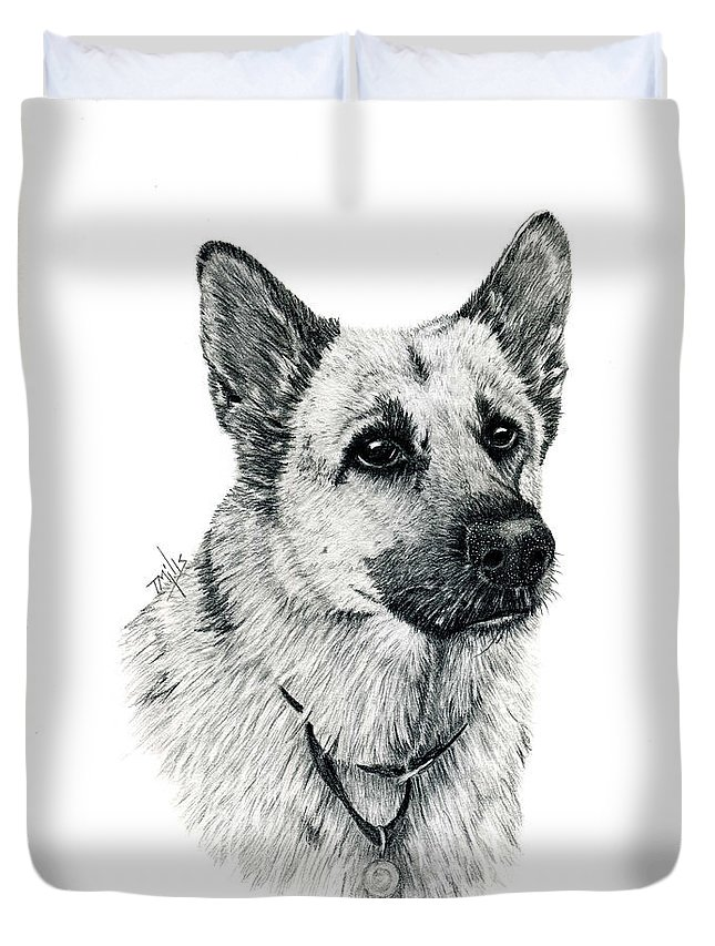 Dog Duvet Cover featuring the drawing German Shepherd by Terri Mills