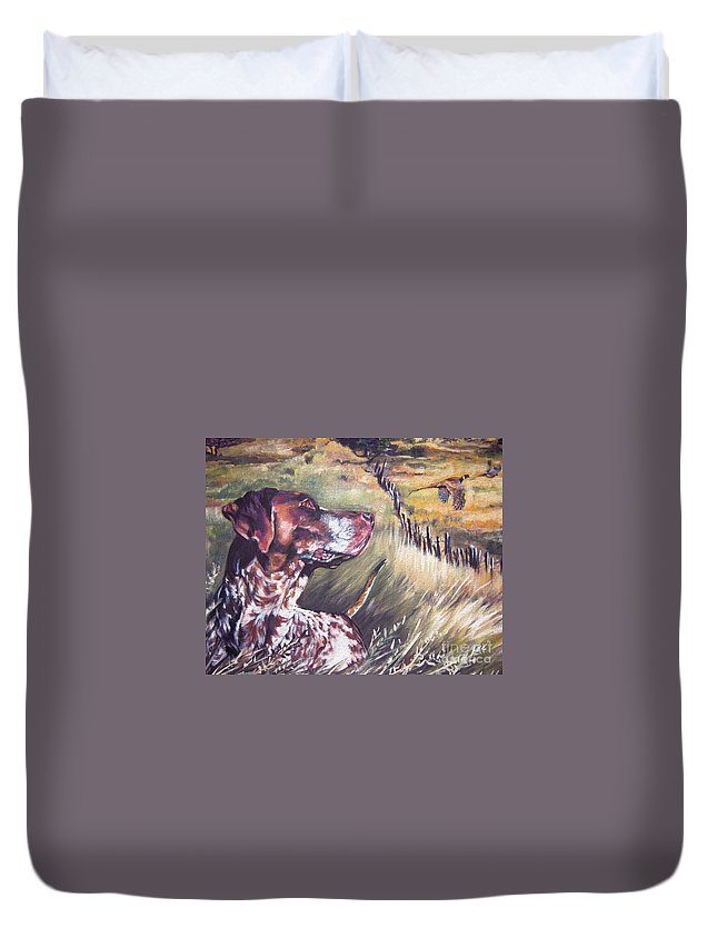 Dog Duvet Cover featuring the painting German Shorthaired Pointer And Pheasants by Lee Ann Shepard