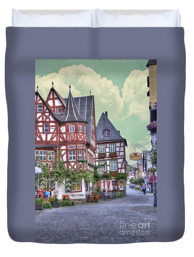 Altes Haus Duvet Cover featuring the photograph German Village Along Rhine River by Juli Scalzi