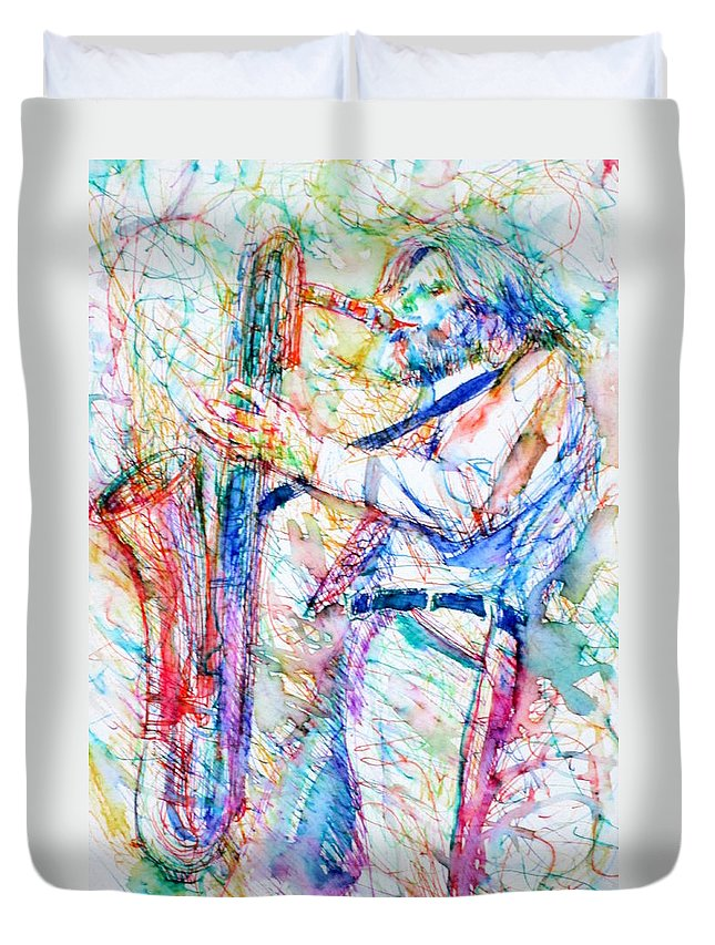 Gerry Mulligan Duvet Cover featuring the painting Gerry Mulligan Playing by Fabrizio Cassetta
