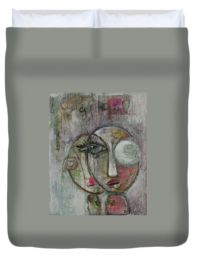 Faces Duvet Cover featuring the painting Get It Girl by Laurie Maves ART