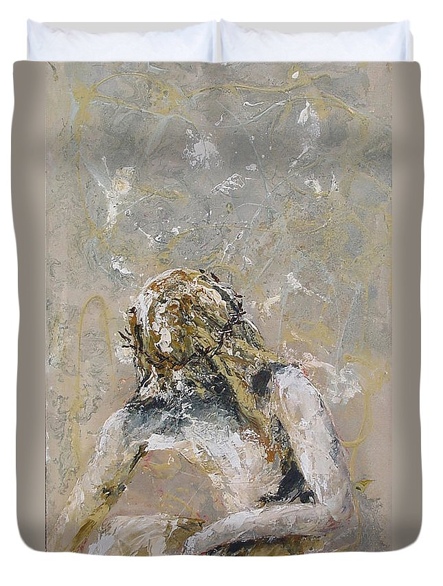 Canvas Prints Duvet Cover featuring the painting Getsemani by Jacqueline Shaw