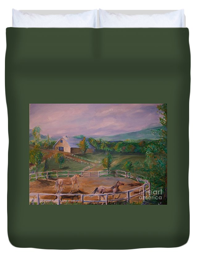 Pennsylvania Duvet Cover featuring the painting Gettysburg Farm by Eric Schiabor