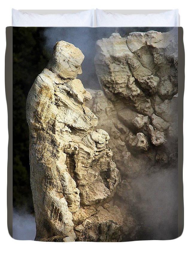 Yellowstone National Park Theodore Roosevelt Duvet Cover featuring the photograph Geyser Creation by Adam Jewell