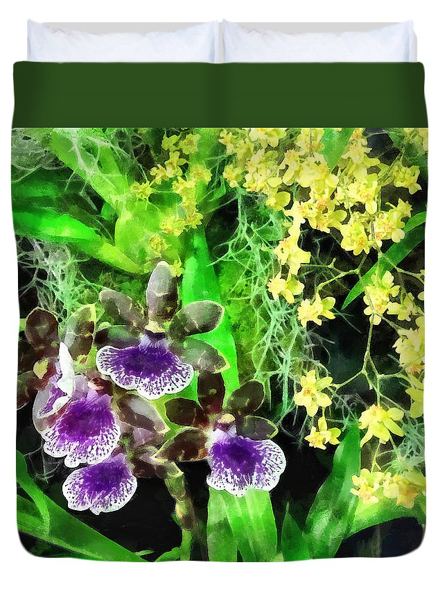 Orchid Duvet Cover featuring the photograph Geyser Jaimie And Golden Fantasy Orchids by Susan Savad