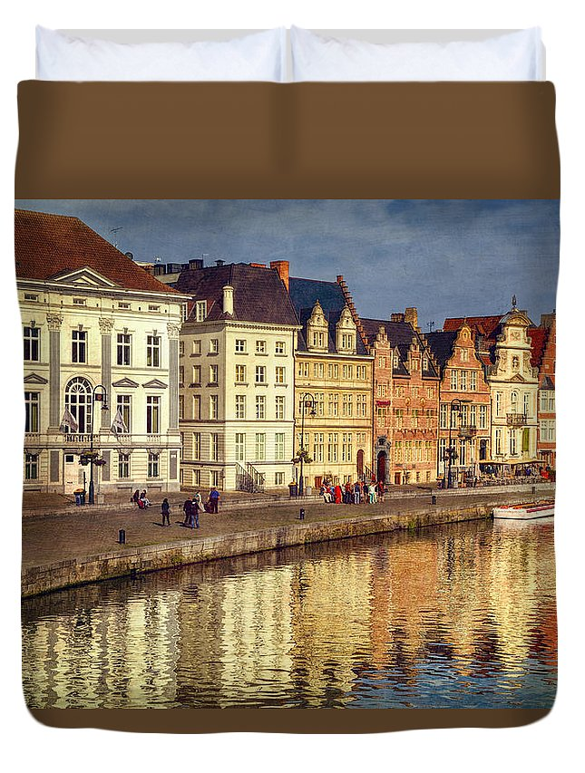 Joan Carroll Duvet Cover featuring the photograph Ghent Waterfront by Joan Carroll