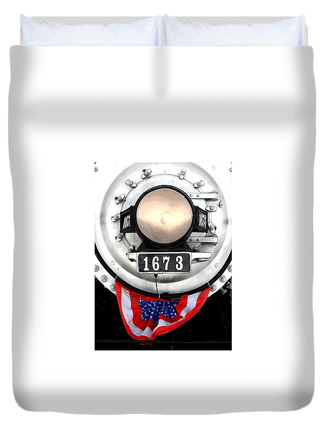Railroad Duvet Cover featuring the photograph Ghost Engine by Joe Kozlowski