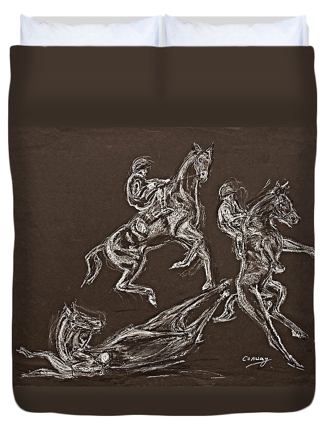 Rearing Horse Duvet Cover featuring the drawing Ghost Riders In The Sky by Tom Conway