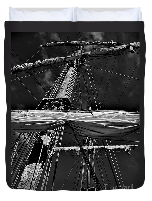 Black And White Duvet Cover featuring the photograph Ghost Ship by Amar Sheow