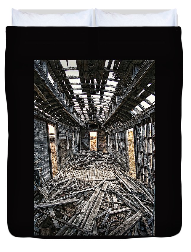 New Mexico Duvet Cover featuring the photograph Ghost Train Revisited by Ron Weathers
