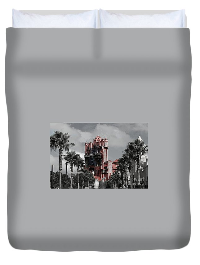 Ghost Duvet Cover featuring the mixed media Ghostly At The Tower by Eric Liller