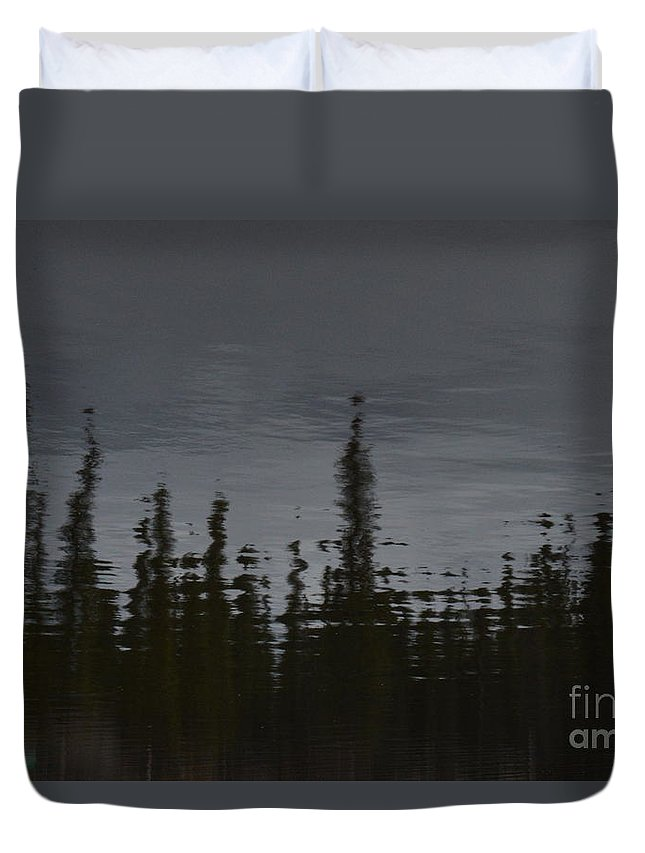 Ghostly Duvet Cover featuring the photograph Ghostly Green Canoe by Brian Boyle
