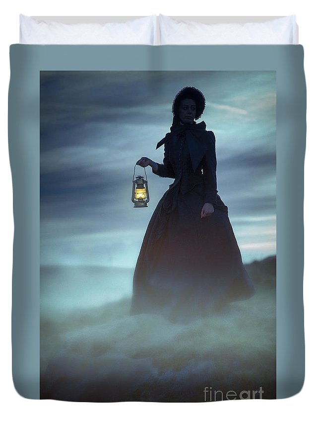 Victorian Duvet Cover featuring the photograph Ghostly Victorian Woman With A Lamp In Fog At Night by Lee Avison