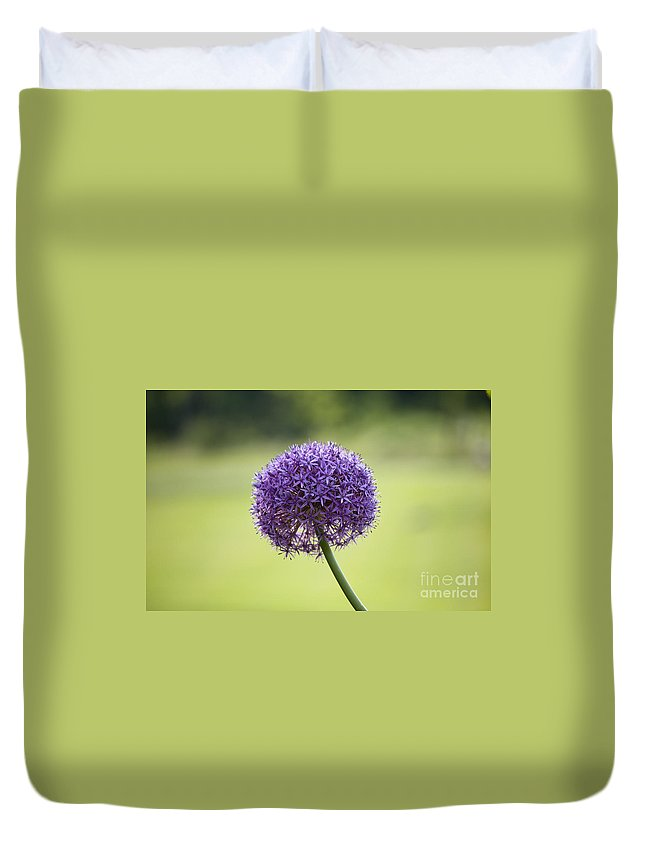 Giant Allium Duvet Cover featuring the photograph Giant Allium Flower by Michael Ver Sprill
