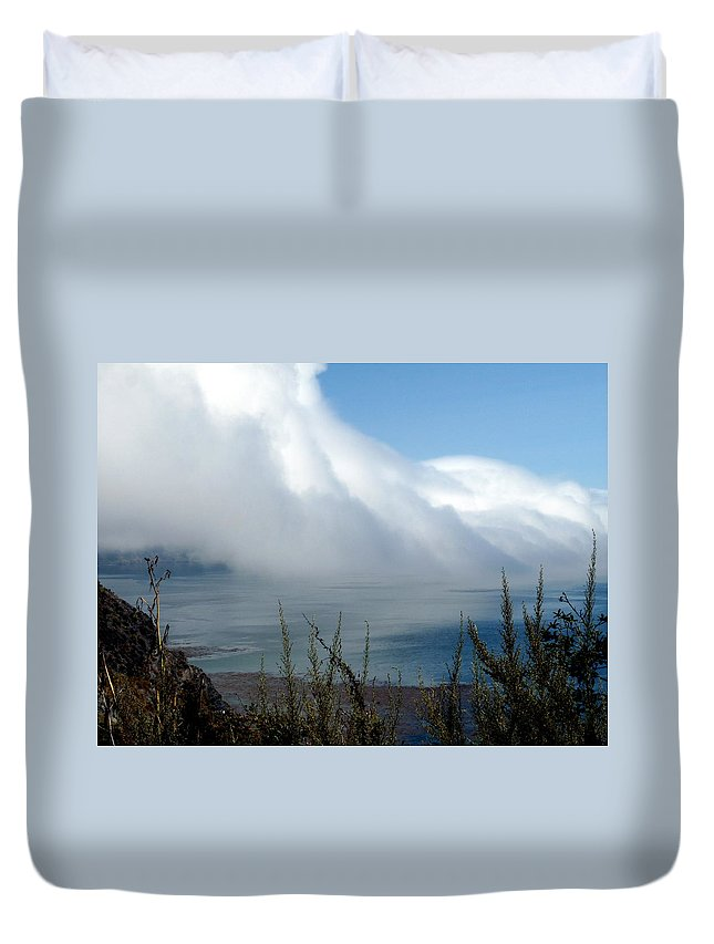 Fog Duvet Cover featuring the photograph Giant Fog Bank Over Pacific Ocean In California by Jeff Lowe