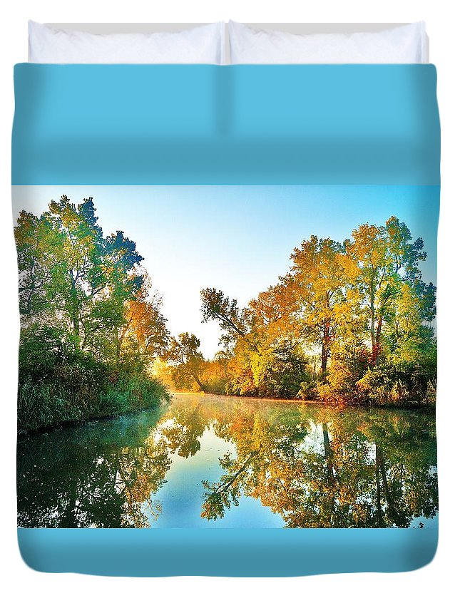 Duvet Cover featuring the photograph Gibralter Mi Waterway by Daniel Thompson