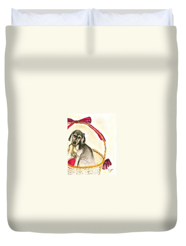 Dog Duvet Cover featuring the drawing Gift Basket by Cori Solomon