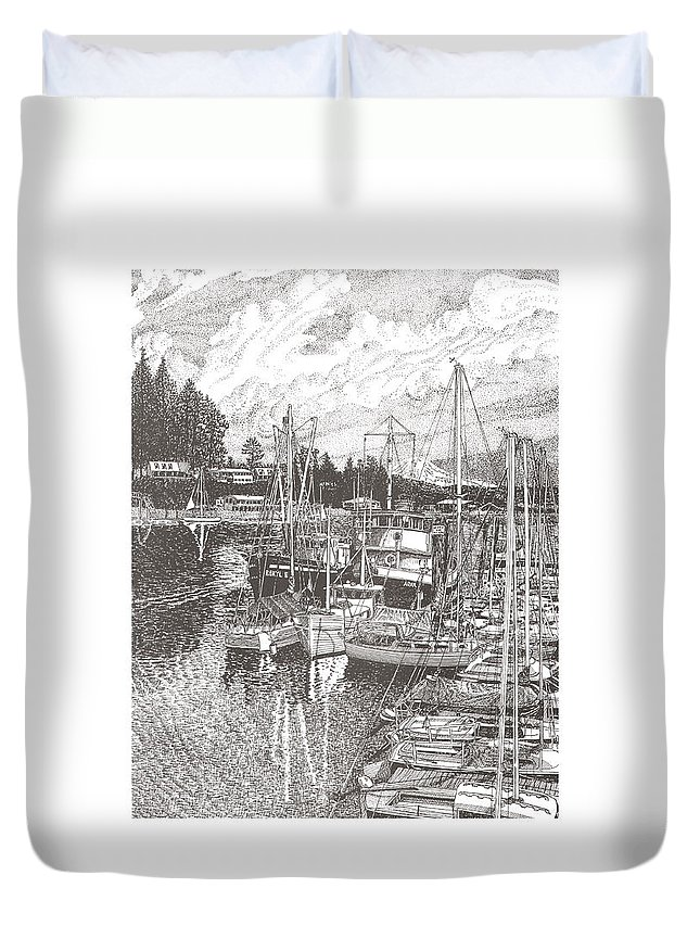 Yacht Portraits Duvet Cover featuring the drawing Gig Harbor Entrance by Jack Pumphrey