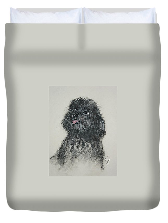 Poodle Duvet Cover featuring the drawing Gigi by Cori Solomon