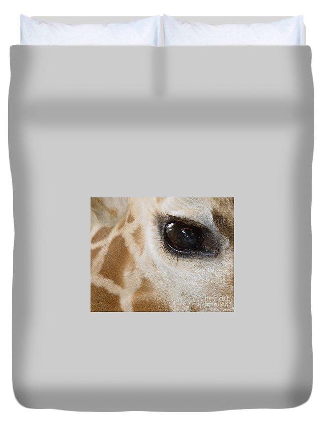 Giraffe Duvet Cover featuring the photograph Giraffe Eye by Heather Coen
