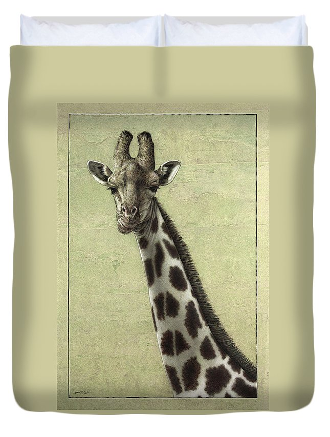 Giraffe Duvet Cover featuring the painting Giraffe by James W Johnson