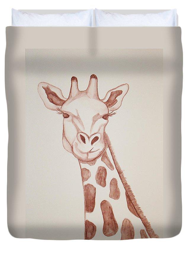 Rick Huotari Duvet Cover featuring the painting Giraffe by Rick Huotari