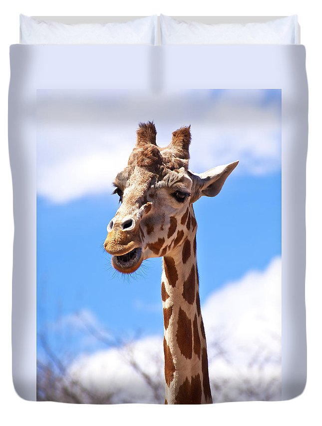 Zoo Duvet Cover featuring the photograph Giraffe Speak by Marilyn Hunt