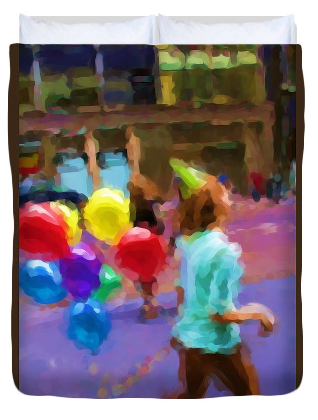 Balloons Duvet Cover featuring the photograph Girl And Her Balloons by Alice Gipson