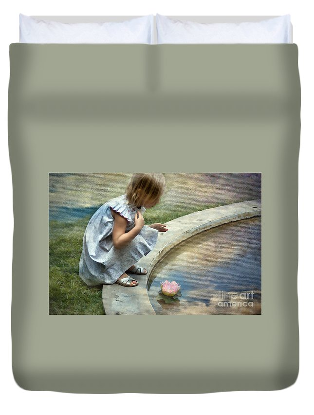Young Duvet Cover featuring the photograph Girl At The Pond by Norma Warden