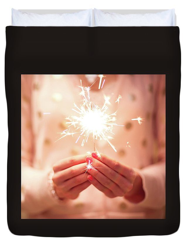 Firework Display Duvet Cover featuring the photograph Girl Holding Small Sparkler by Sasha Bell