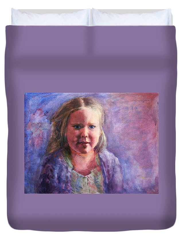 Girl Duvet Cover featuring the painting Girl In A Purple Sweater by Mary Haas