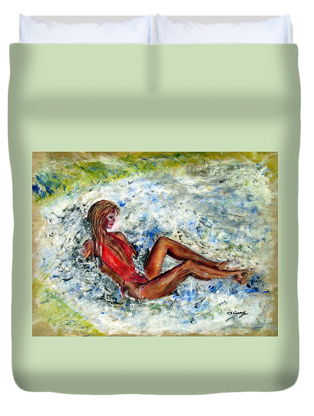 Girl Duvet Cover featuring the painting Girl In A Red Swimsuit by Tom Conway